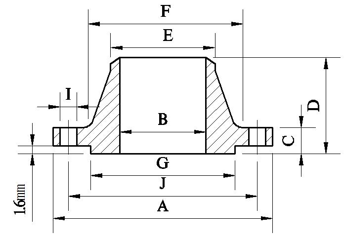 ASME B16 47 Series B Weld Neck Flange/WN Flange Dimensions