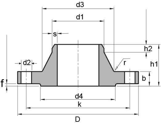 DIN 2628 PN250 Welding Neck/WN Flange Dimensions | ASTM A234 butt