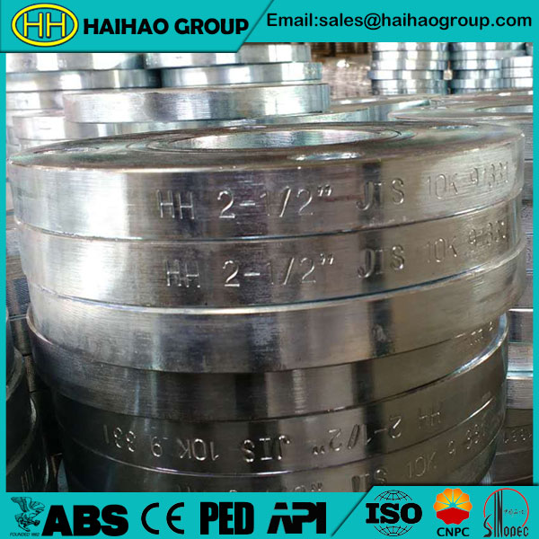 JIS B2220 10k Galvanized Slip On Flanges In Haihao Group